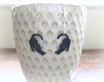 Black Cat Stretch Earrings - Shrink Plastic and Sterling Silver
