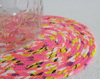 Fabric Coiled Mat / Coiled Rope Placemat / Hot Pad / Trivet / Neon Brights Oval Coiled Mat by PrairieThreads