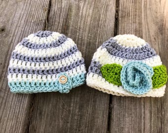 Twin baby hats,  Crochet Beanie, Infant Hats, Newborn Hats, Photo Props