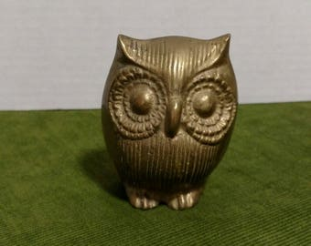Brass Owl Paperweight 3 Inches Tall