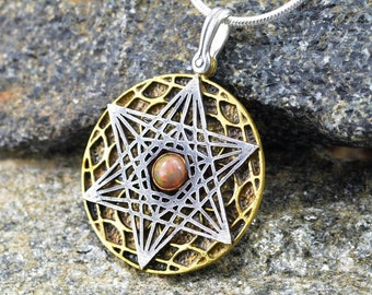 Sacred Geometry Project -  Star of David Tetrahedron pendant - two tone - two layers - with genuine opal gem.