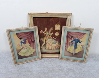 Vintage Dancing Couple framed litho prints - Victorian scene -12x10 and (2) 9x7 - shabby chic, french country - 40s-50s