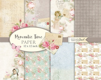 Romantic Time Paper - Scrapbooking Printable Paper - 12 x 12 inch - background - set of 8 - Printable Download