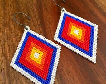 Brickstitch diamond shape earrings, seedbead Native American earrings, rainbow earrings