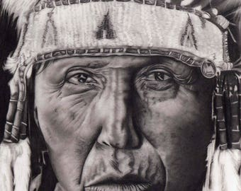 Native American Giclee Print of a Graphite Drawing Elder Available to Order Now
