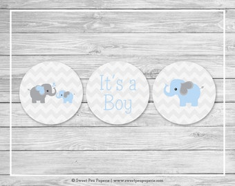 Elephant Baby Shower Cupcake Toppers - Printable Baby Shower Cupcake Toppers - Blue and Gray Elephant Baby Shower - Cupcake Toppers - SP102