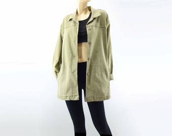 Vintage Chore Jacket Vintage Work Jacket Workwear Jacket Olive Green 90s Denim Jacket Barn Jacket Olive Green Jacket M, L, XL One Size