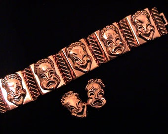 """Vintage RENOIR """"Curtain Call"""" Copper Comedy Tragedy Mask Bracelet and Earrings Set"""