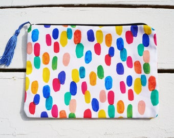Clutch with tassel 7x10 | Makeup Bag, Cosmetic Pouch, Travel Bag, Purse, Fold Over Clutch, Multi Colored Large Clutch