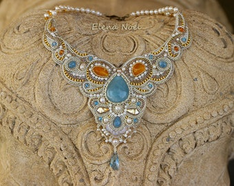 Elegant aquamarine necklace with freshwater pearls and amber. Necklace Bead Embroidery Art