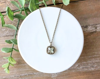 Antique bronze charm necklace // short dainty necklace // sparkly jewel necklace // vintage inspired necklace // antique bronze jewelry