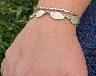 Silver Bead and Tube Bracelet from Ethiopia