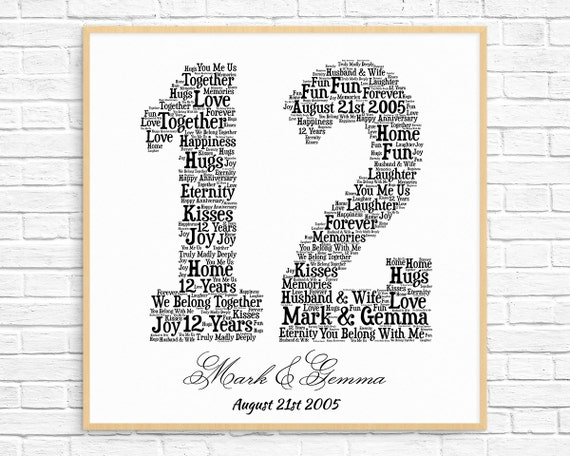 Personalized 12th anniversary gift word art printable art negle Images