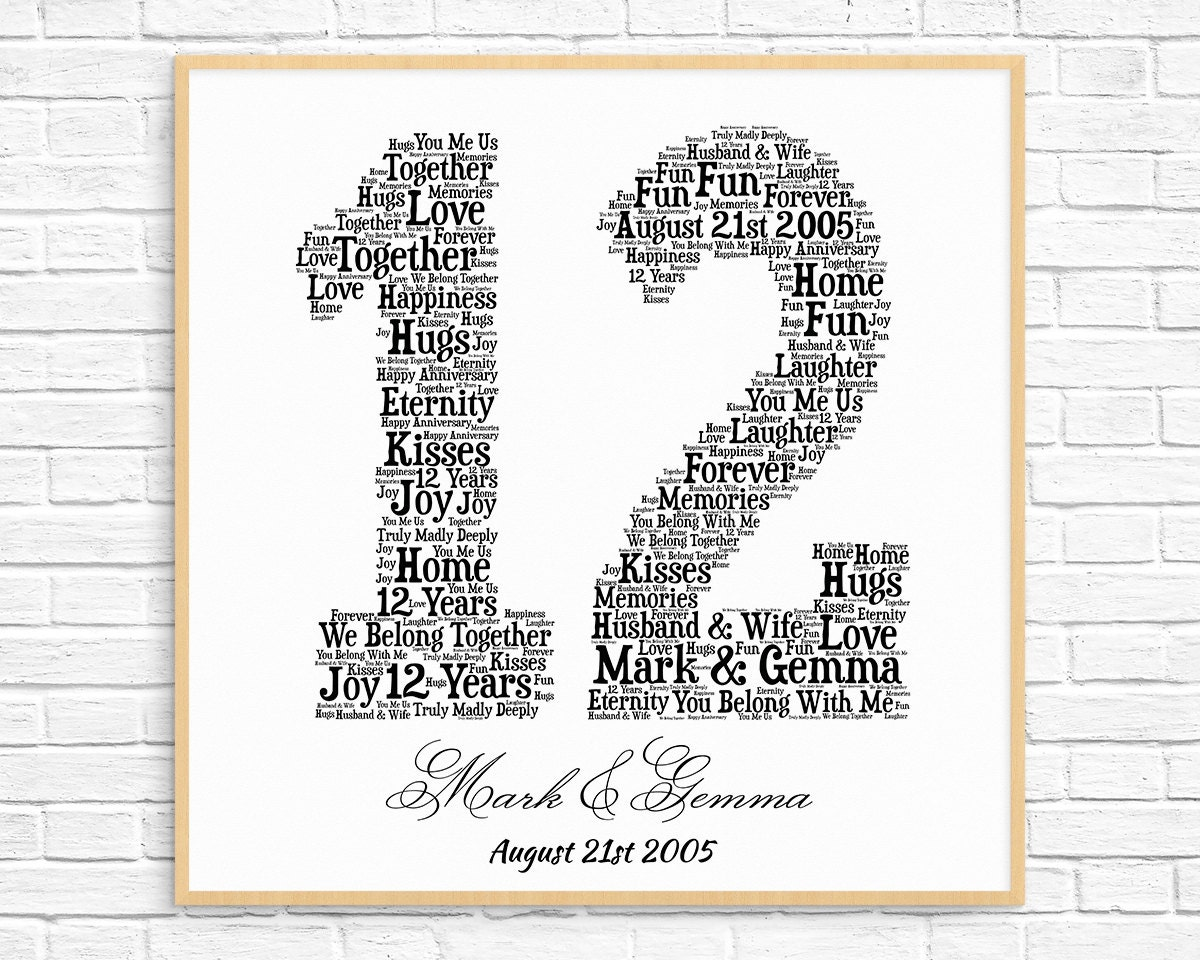 Personalized 12th Anniversary Gift Word Art Printable Art