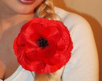Remembrance Red Silk Poppy Flower Hair Accessory and/or Brooch