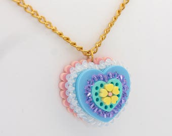 3d Heart acrylic laser cut jewellery necklace, perspex,  plastic, Brooch pin ladies jewelry