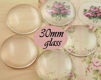 BULK Wholesale 30mm Glass Domes - 30mm Craft Glass Domes - 30mm Glass for Jewelry and Art Crafts. Pick Quantity