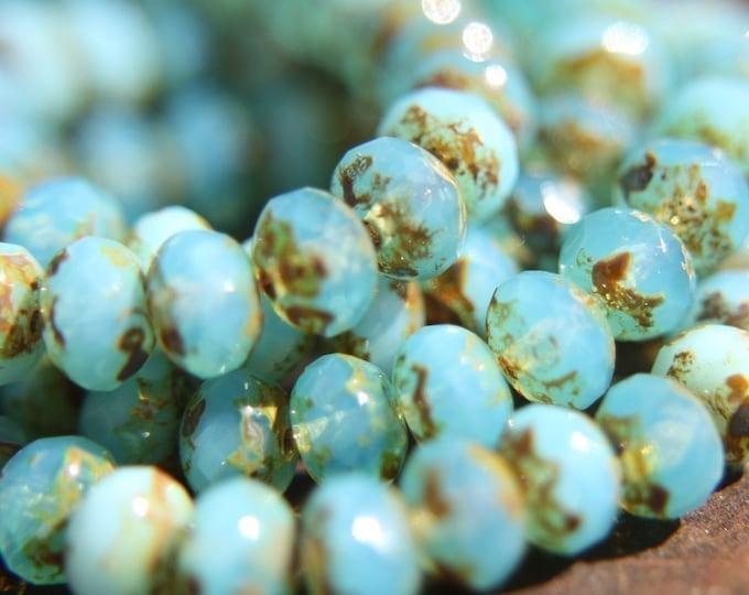 LAGOON PEBBLES .. 10 Premium Czech Picasso Glass Rondelle Beads 7x5mm (560-10)