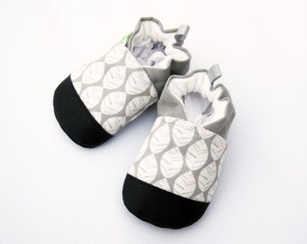 Organic Vegan Beech Leaves in Grey / non-slip soft sole baby shoes / made to order / Babies Toddlers Preschool