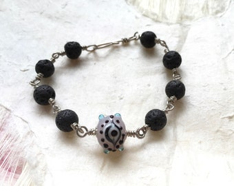 Lava Rock and Eye Bead Aromatherapy Bracelet