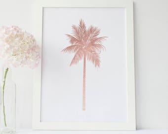 Rose Gold Print, Digital Download Print, Nursery Artwork, Palm Tree Art Print, Palm Artwork, Tropical Decor Tropical Art Print Palm Tree Art