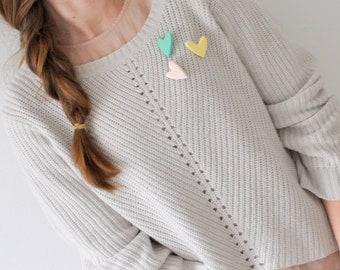 Heart brooch. Heart. Brooch. Wooden brooch. Pink brooch. Brooches. Pastel brooch. Mint brooch. Gift for her. Jewelry for her.