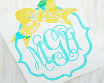 Bow Quatrefoil Monogram Decal - Lilly Pulitzer Inspired
