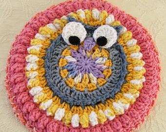 Crocheted Owl Hot Mat Trivet Pot Holder Coral, Yellow, Lavender Sunrise, Sunset