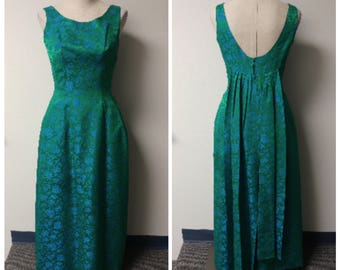 Vintage Clothing, 1950s 1960s Vintage Dress, Emerald Green Formal Dress Sleeveless Taffeta Brocade, Ladies Size XS