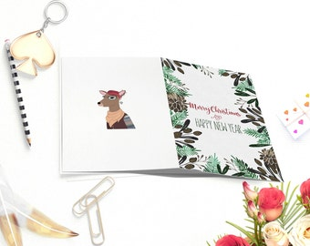 printable christmas cards happy new year cards christmas carddeer card greeting - Printable Xmas Cards