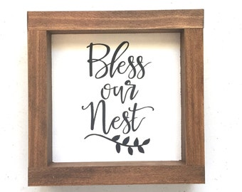 Bless our nest Wood Sign // Entryway // Gallery Wall // Wedding Gift // Housewarming Gift