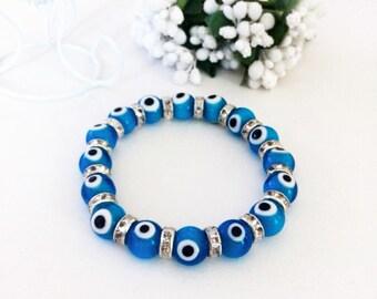 Blue evil eye bracelet, glass evil eye bracelet, evil eye bangle bracelet, turkish handmade evil eye bracelet, nazar protection bracelet