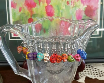 Skull Earrings, Sugar Skull Earrings, Halloween Earrings, Howlite Stone Earrings, Dangle Skull Earrings, Gothic Jewelry, by GoodVibesbyMeg