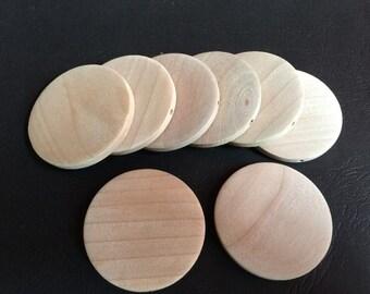 10 Pcs 45mm Natural Flat Wood Circles Wooden discs   (NW051)