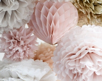 Dusty blush.. 16 mixed size Tissue paper  Pom Poms set -   Wedding  Party Bridal Shower Birthday Nursery Decorations