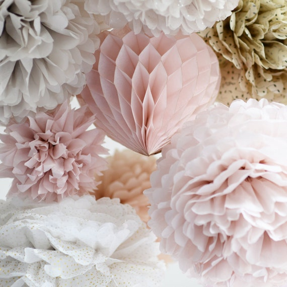 Dusty blush mixed size tissue paper pom poms