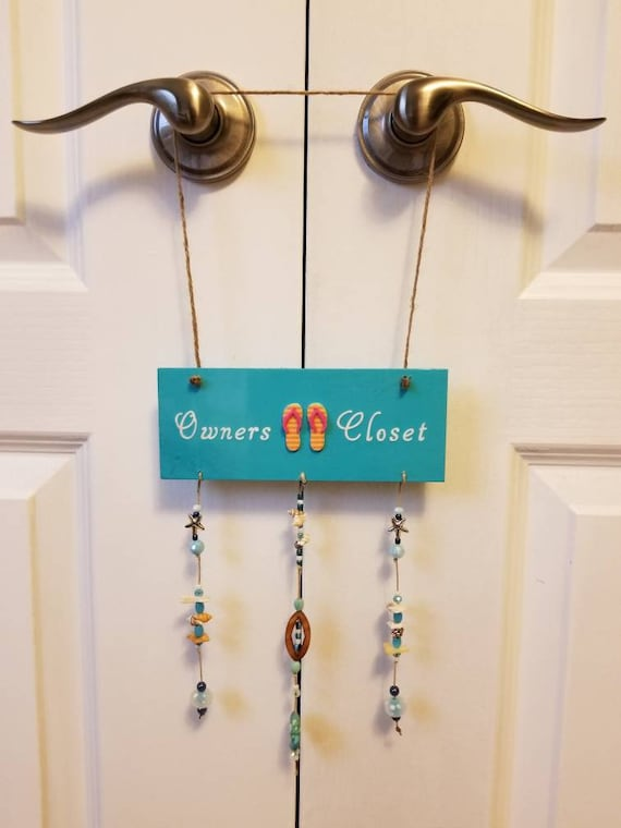 Owners Closet Hanging Sign With Shells Charms And Bead