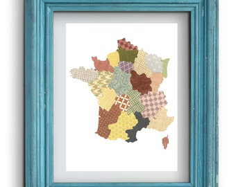 France Map Collage Print {Digital}