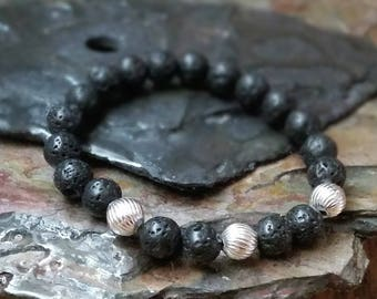 Silver Spiral 8mm Diffuser Bracelet with Lava Beads