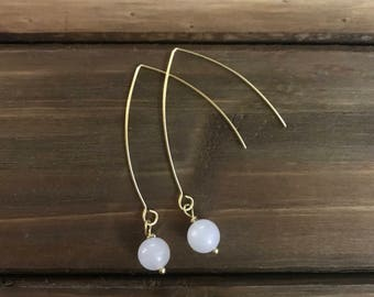 White Jade Dangle Earrings