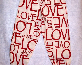 LOVE - Red and Cream Knit Leggings -  Red on Cream -  LOVE - Size 2T