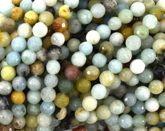 "6mm faceted amazonite round beads 15"" strand 39139"