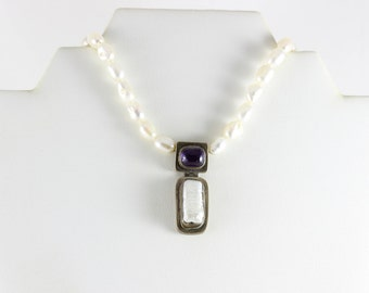 Sterling Silver Pearl and Amethyst Baroque Toggle Clasp Necklace