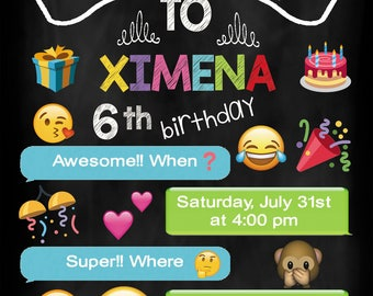 18 emoji invitation also  tags label party birthday english or spanish
