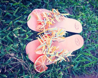 "Natural Greek Leather sandals - ""Orange Juice"""