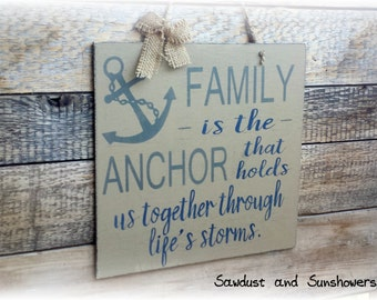 Lovely Nautical Wall Decor, Family Wood Sign, Anchor Decor, Anchor Sign, Country  Home