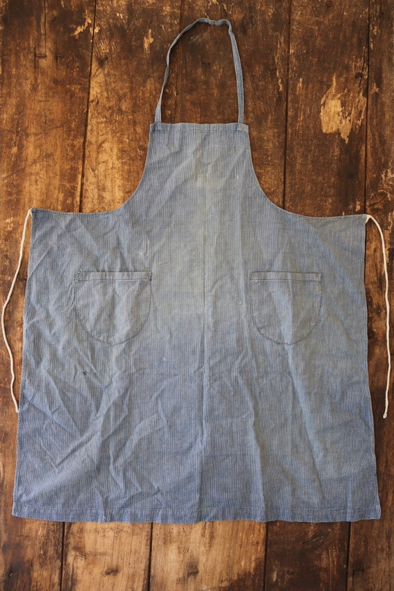 """Vintage french blue indigo cotton apron workwear work chore darned repaired sun faded 29"""" x 33"""""""