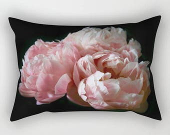 Floral Lumbar Pillow Cover, Velvet Pillow Peony Print, Pink Peonies Velvet Cushion, Shabby Chic Pillows, Cottage Decor, Boho Decor