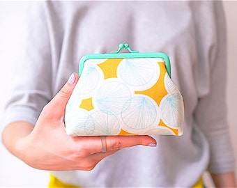 Frame coin purse, Kiss lock purse, Mint Purse, Yellow Purse, Geometric Purse, Japanese Fabric, Colored Metal Frame Purse, Gifts for her