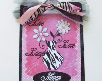 Personalized Clipboard Zebra Flower Live Laugh Love 2 sided Teacher Gifts